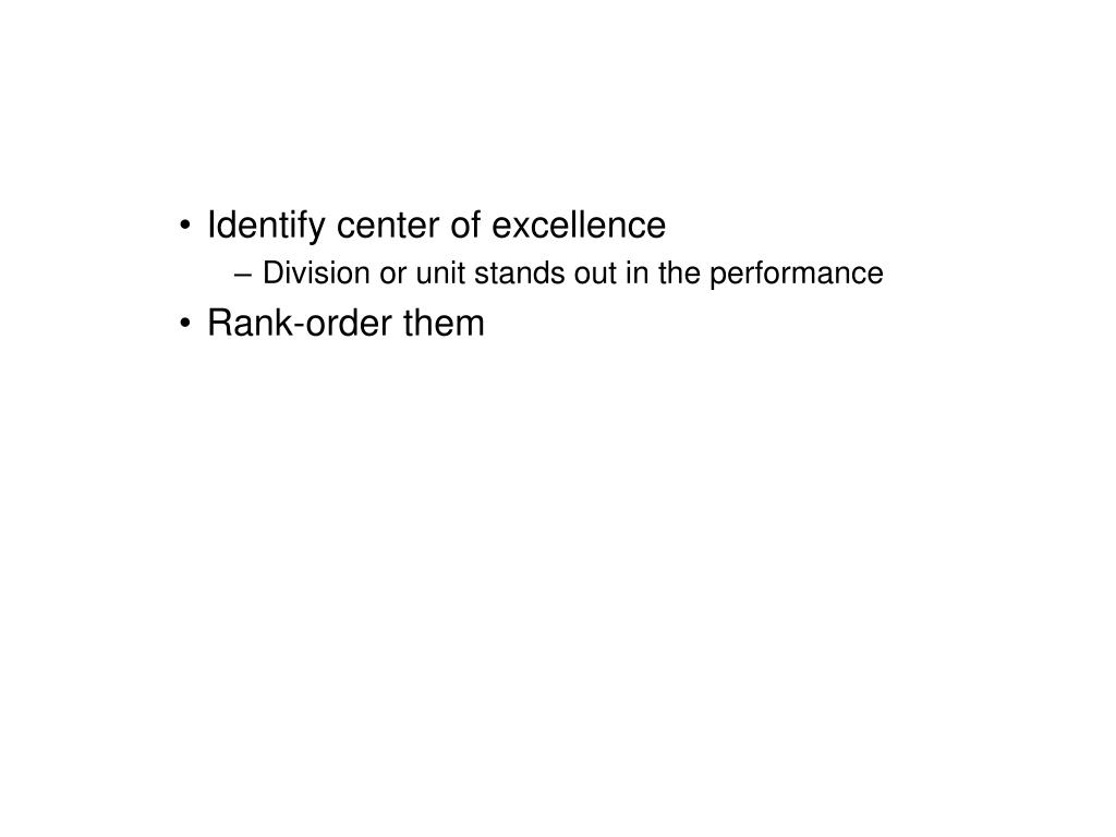 Identify center of excellence