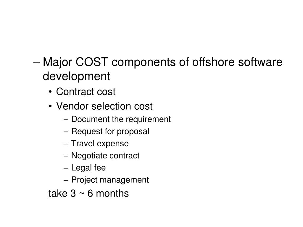 Major COST components of offshore software development