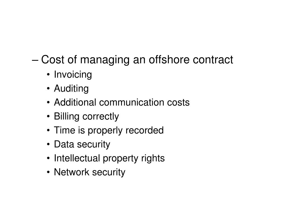 Cost of managing an offshore contract