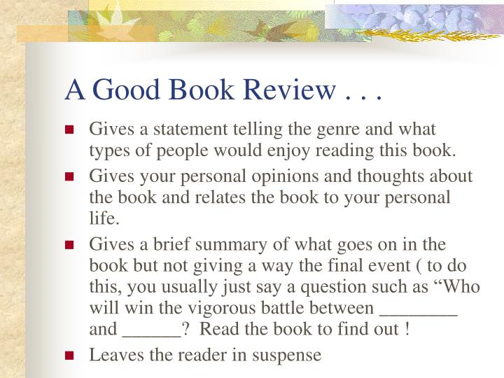 A good book review
