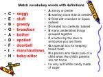 match vocabulary words with definitions
