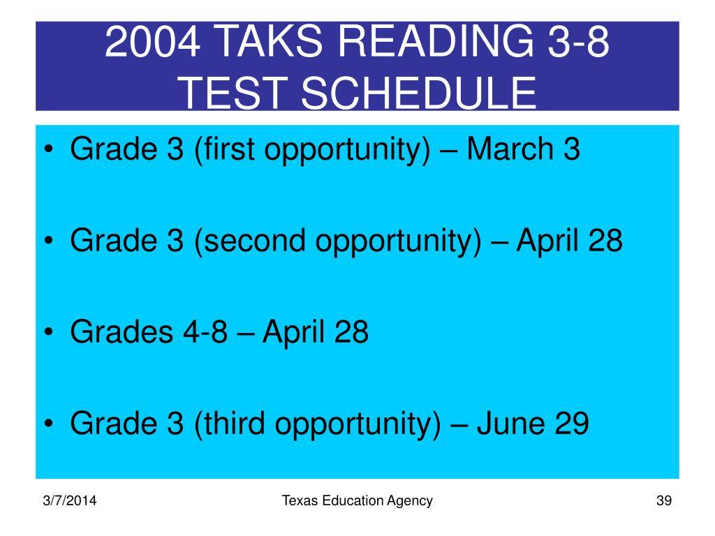 2004 TAKS READING 3-8