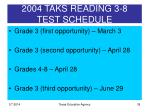 2004 taks reading 3 8 test schedule