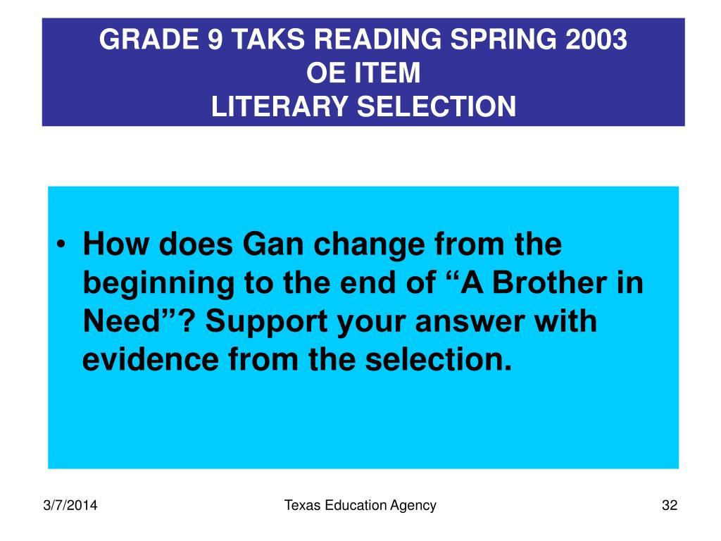 GRADE 9 TAKS READING SPRING 2003