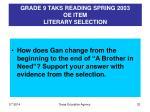 grade 9 taks reading spring 2003 oe item literary selection