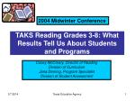 taks reading grades 3 8 what results tell us about students and programs