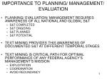 importance to planning management evaluation