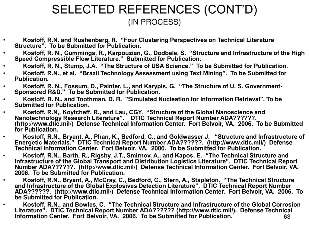 SELECTED REFERENCES (CONT'D)