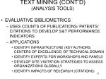text mining cont d analysis tools