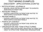 text mining examples discovery applications cont d
