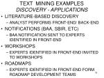 text mining examples discovery applications