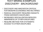 text mining examples discovery background