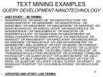 text mining examples query development nanotechnology