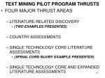 text mining pilot program thrusts
