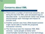 concerns about xml