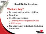 small dollar invoices