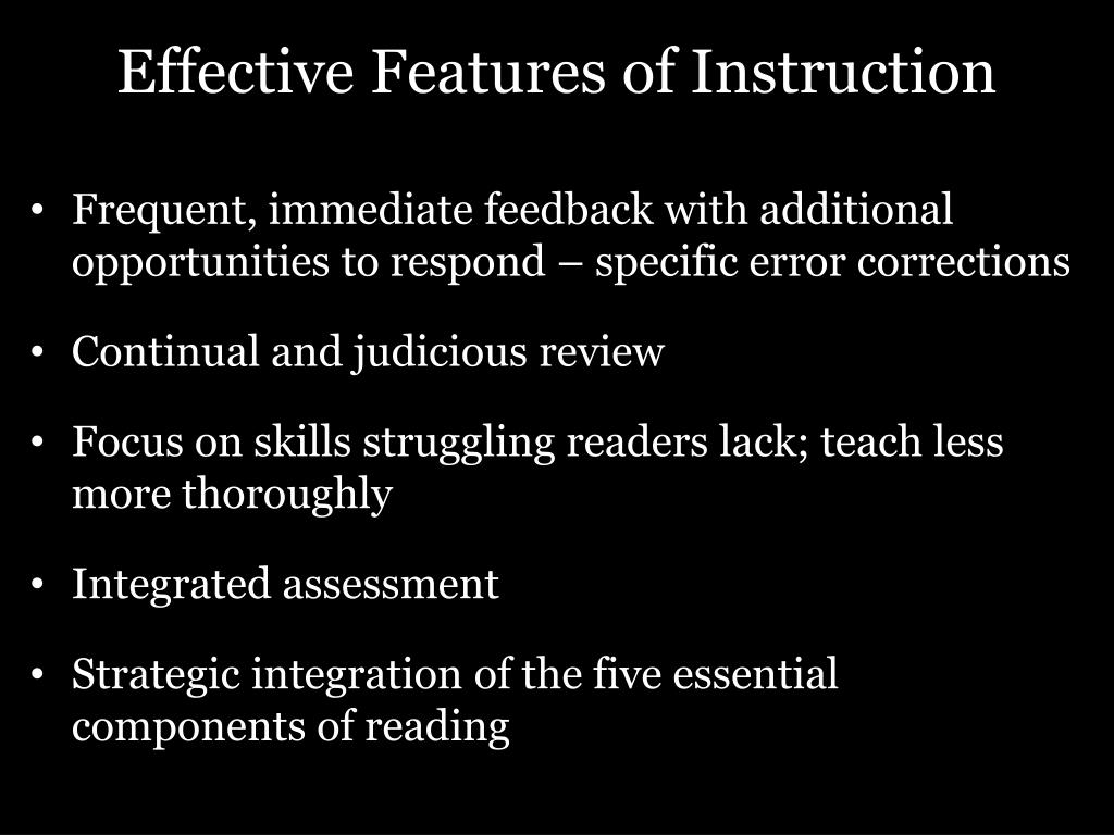 Effective Features of Instruction