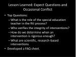 lesson learned expect questions and occasional conflict