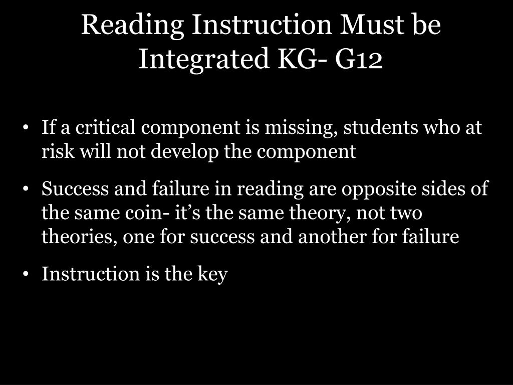 Reading Instruction Must be