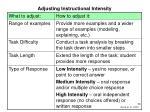 adjusting instructional intensity