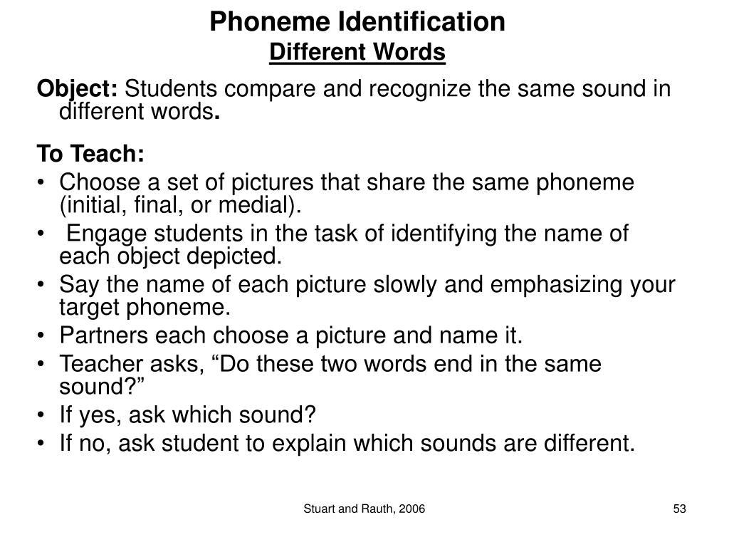 Phoneme Identification