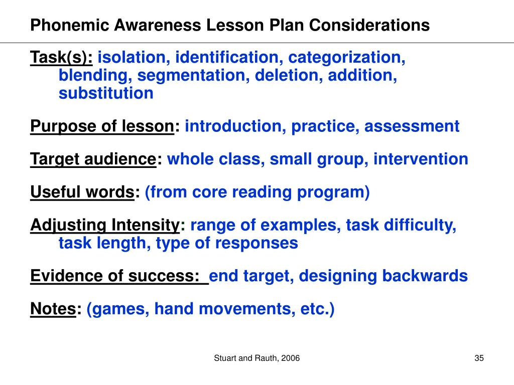 Phonemic Awareness Lesson Plan Considerations