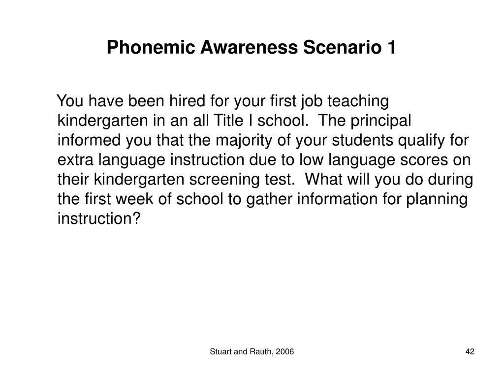 Phonemic Awareness Scenario 1