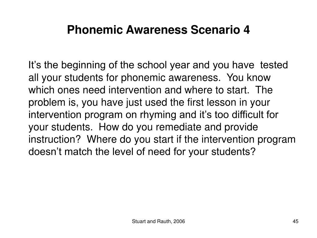 Phonemic Awareness Scenario 4