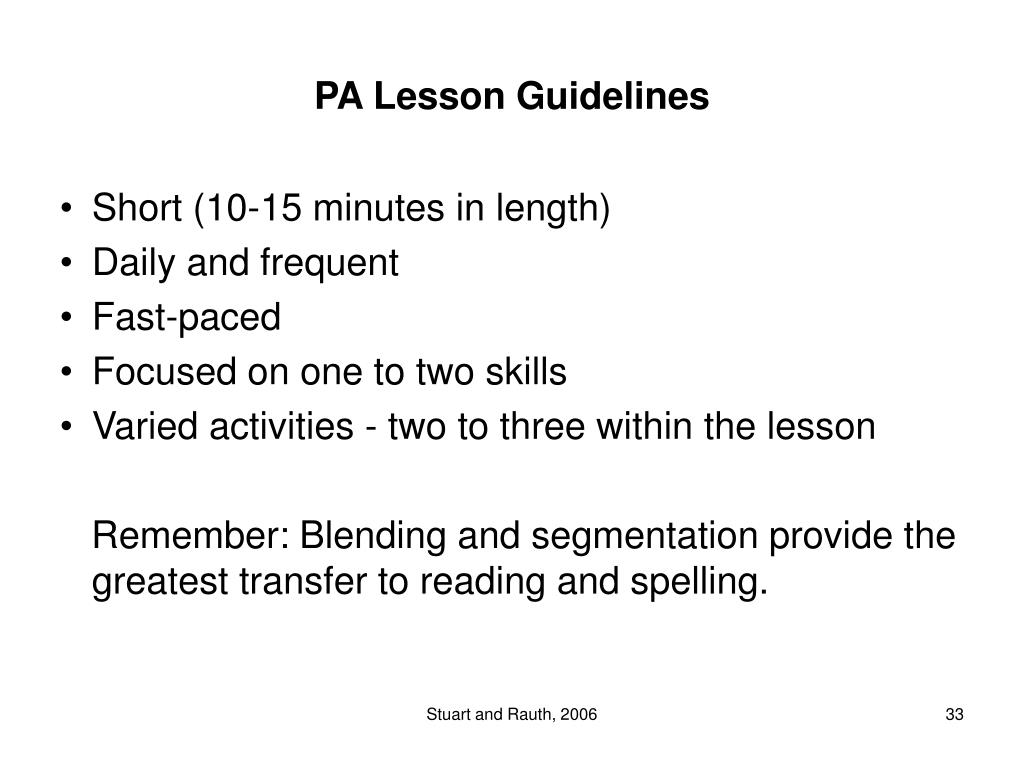 PA Lesson Guidelines