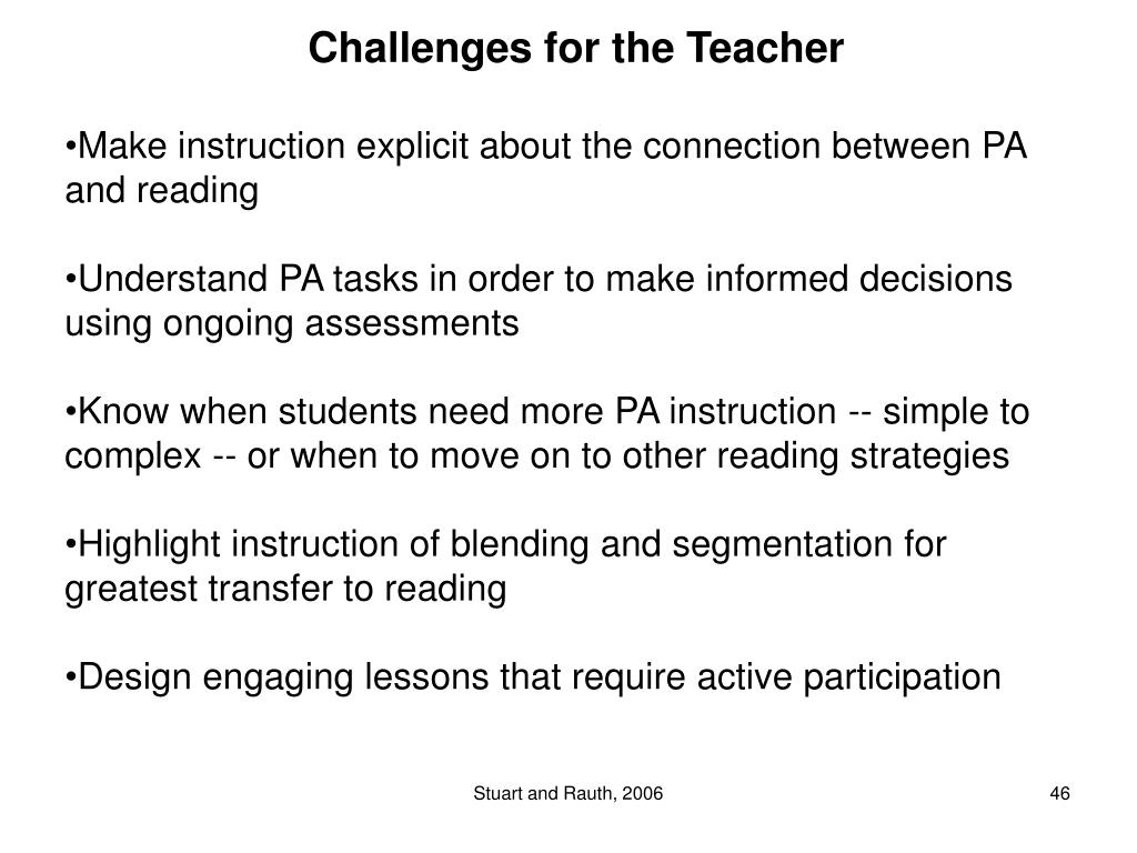 Challenges for the Teacher