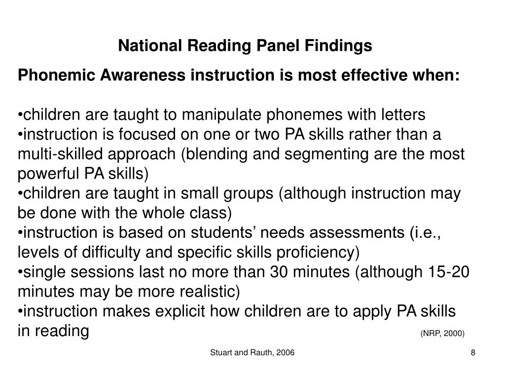 National Reading Panel Findings