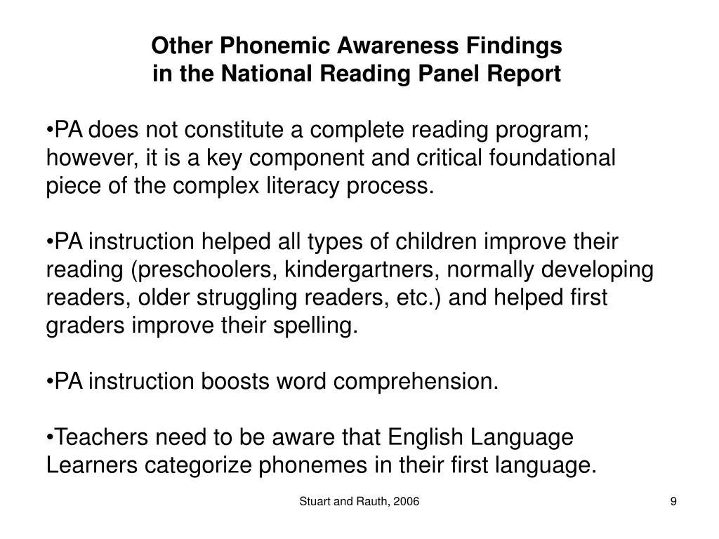 Other Phonemic Awareness Findings