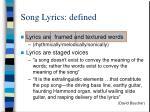 song lyrics defined