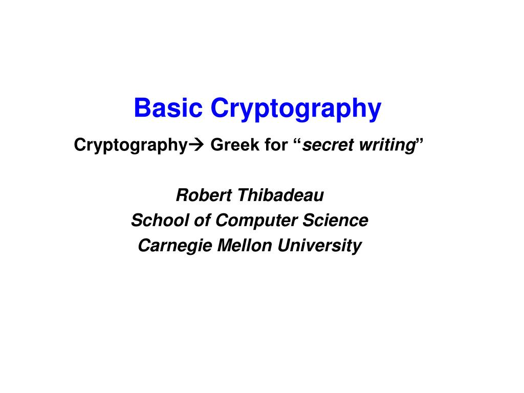basic cryptography l.
