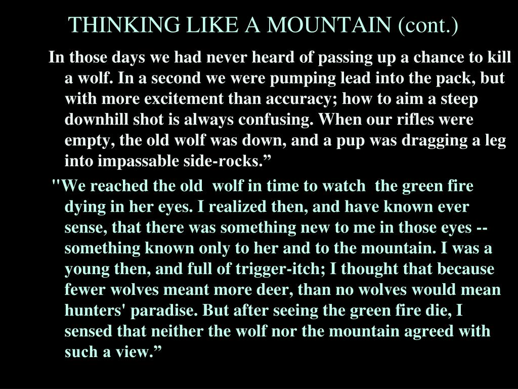 """In those days we had never heard of passing up a chance to kill a wolf. In a second we were pumping lead into the pack, but with more excitement than accuracy; how to aim a steep downhill shot is always confusing. When our rifles were empty, the old wolf was down, and a pup was dragging a leg into impassable side-rocks."""""""