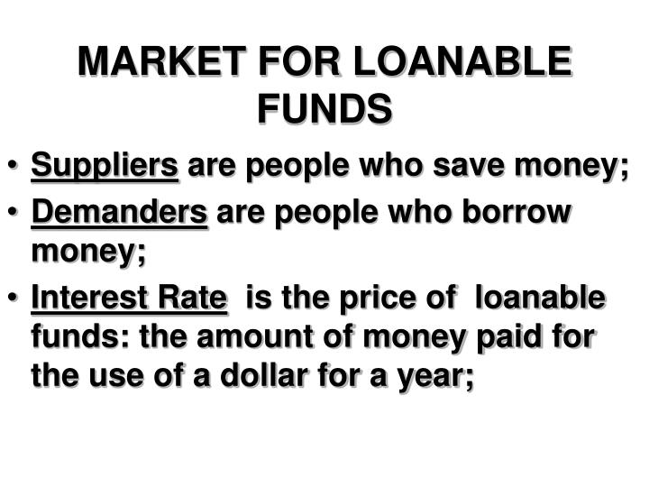 market for loanable funds n.
