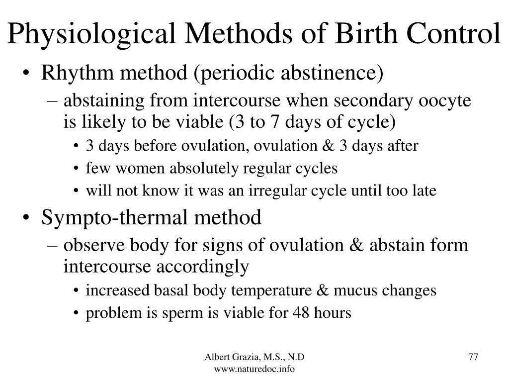 Physiological Methods of Birth Control