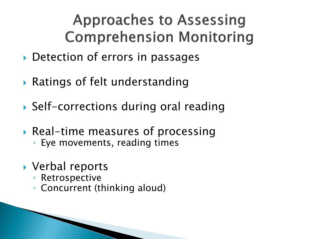 Approaches to Assessing Comprehension Monitoring