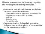 effective interventions for fostering cognitive and metacognitive reading strategies30
