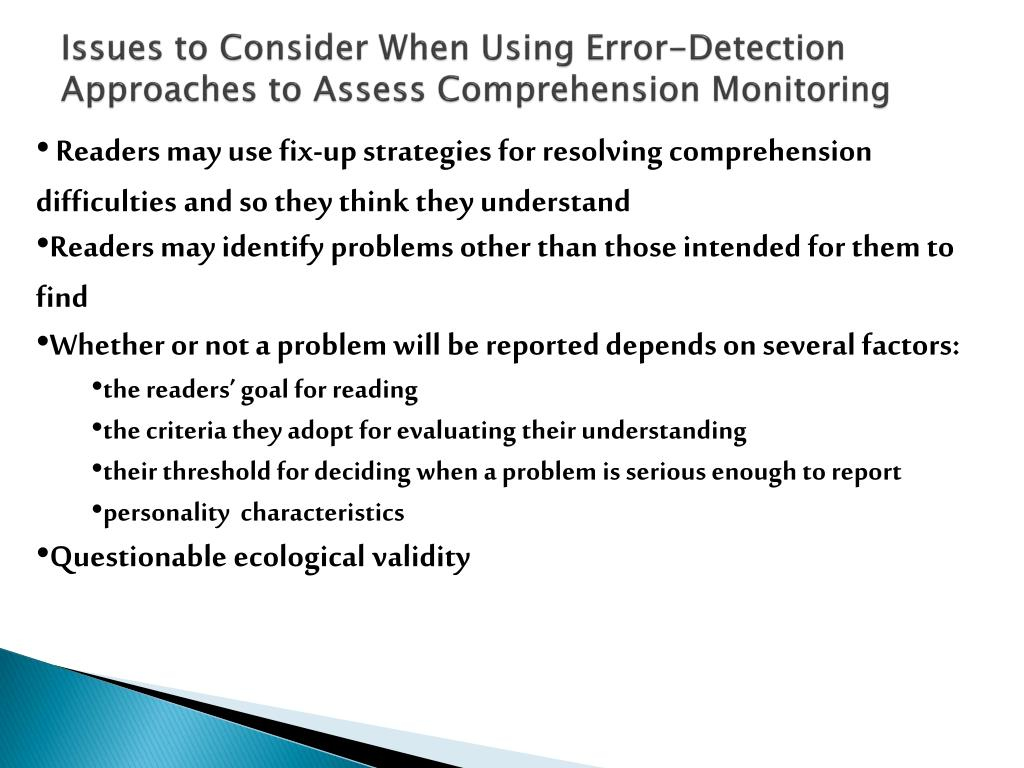 Issues to Consider When Using Error-Detection Approaches to Assess Comprehension Monitoring