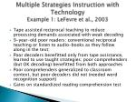 multiple strategies instruction with technology example 1 lefevre et al 2003