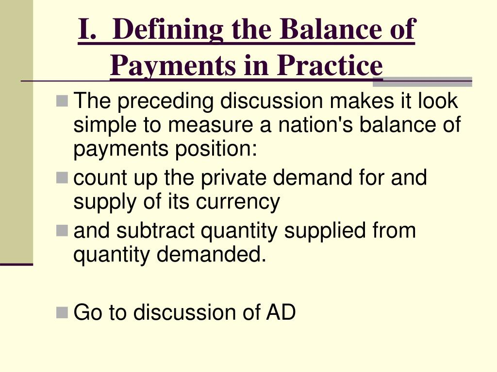 I.  Defining the Balance of Payments in Practice