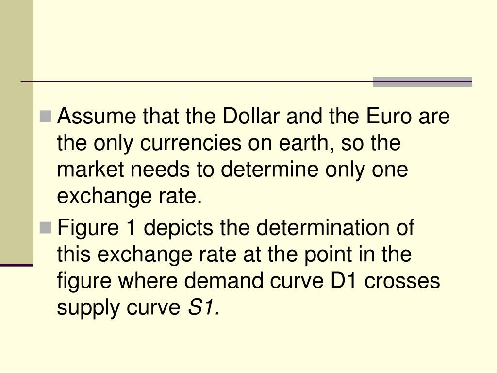 Assume that the Dollar and the Euro are the only currencies on earth, so the market needs to determine only one exchange rate.