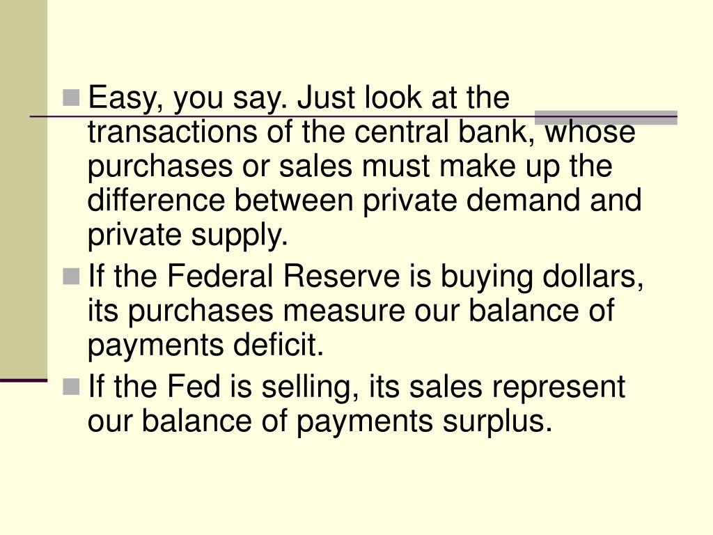 Easy, you say. Just look at the transactions of the central bank, whose purchases or sales must make up the difference between private demand and private supply.