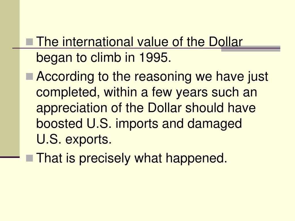 The international value of the Dollar began to climb in 1995.