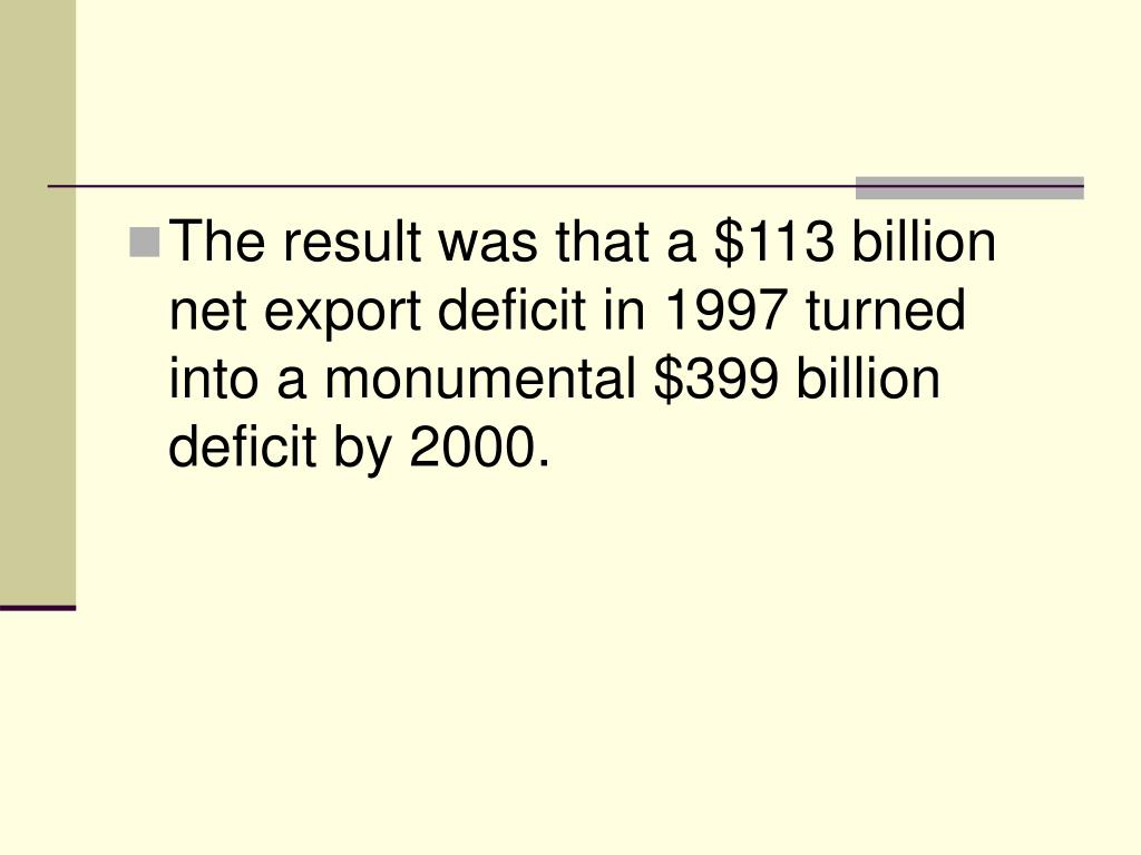 The result was that a $113 billion net export deficit in 1997 turned into a monumental $399 billion deficit by 2000.