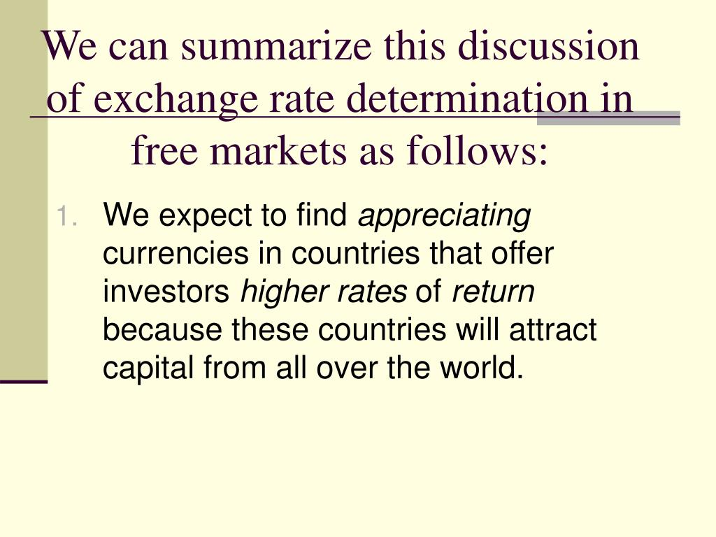 We can summarize this discussion of exchange rate determination in free markets as follows: