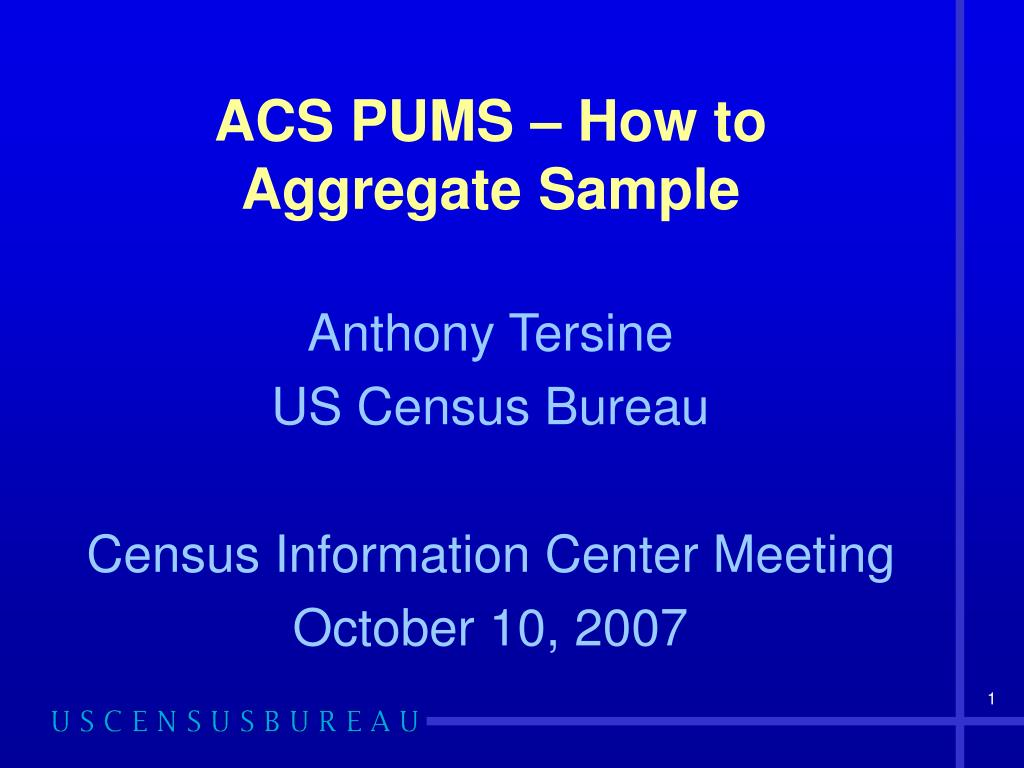 acs pums how to aggregate sample l.