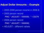 adjust dollar amounts example
