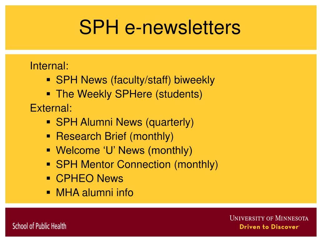 SPH e-newsletters